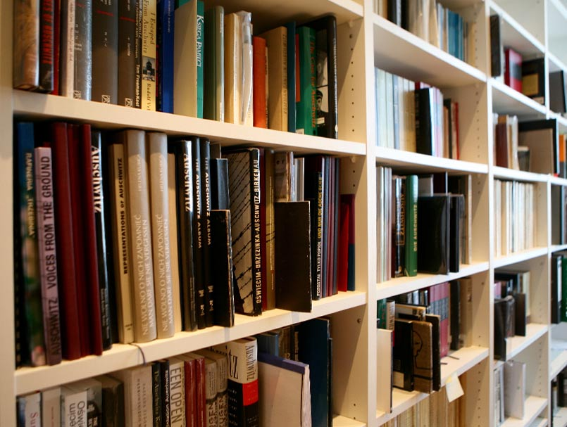 The Auschwitz- Birkenau section of of the Associations library encompassing 700 books (Source: Tiergarten4Association)